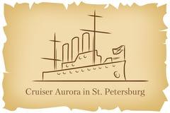 Krążownik zorza w StPetersburg, Rosja lineart ilustracja dla logo, ikona, plakat, sztandar na tła naśladowania brązie starym ilustracji