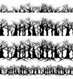 Kręceni nadzy drzewa i gałąź granicy bezszwowy set royalty ilustracja