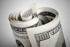 Kręceni Stany Zjednoczone dolary, sto USD banknotów obraz royalty free