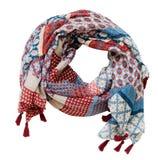 Kręconego lata wiskozowy szalik w czerwieni, błękitnych i bielu kolorach, Obrazy Royalty Free