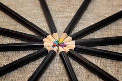kręgów kolorowe ołówki Zdjęcie Stock