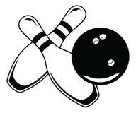 Kręgle piłka Z Dwa szpilkami - grafika styl Fotografia Royalty Free
