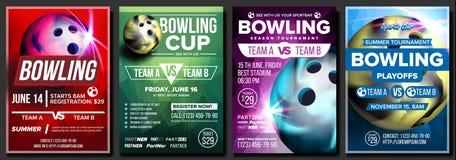 Kręgle plakata Ustalony wektor Projekt Dla sporta pubu, kawiarnia, Prętowa promocja Rzucać kulą Świetlicową piłkę Nowożytny turni ilustracji