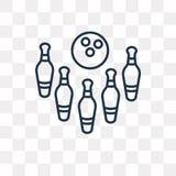 Kręgle wektorowa ikona odizolowywająca na przejrzystym tle, liniowy b ilustracji