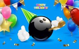 Kręgle wszystkiego najlepszego z okazji urodzin przyjęcie Wektorowa klamerki sztuki ilustracja Obraz Stock
