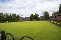 Kręgle zieleń w parku w targowym miasteczku Sandbach Anglia Zdjęcia Royalty Free