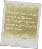 Kär gud, bokstav till guden för vägledning och bön Arkivbilder