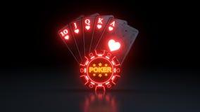 Kr?lewski sekwens w serce grzebaka kartach do gry Z Neonowymi ?wiat?ami Odizolowywaj?cymi Na Czarnym tle - 3D ilustracja royalty ilustracja