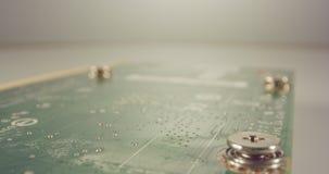 Krańcowy makro- dolly strzał PCB komputeru deska z capacitors i tranzystorami zbiory