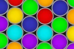 Krańcowego zbliżenia farby kolorowe puszki Zdjęcie Royalty Free