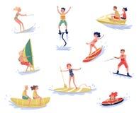 Krańcowi wodni sporty ustawiają, waterski, flyboarding, windsurfing, surfujący, paddleboarding, wakeboarding wodnego sport ilustracji