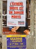 Krańcowy droite est un niebezpieczeństwa plakat nad Marine Le Pen campaig Fotografia Stock