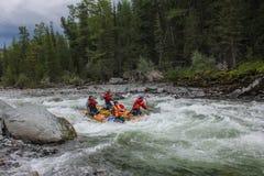 Krańcowy flisactwo na Bashkaus rzece, krańcowy sport fotografia royalty free
