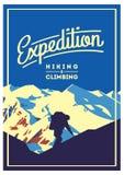 Krańcowy plenerowy przygoda plakat Wysokie góry ilustracyjne ilustracja wektor