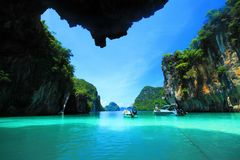Kra bi Andaman sea of Thailand. Crystal clear water, Kra bi Andaman sea of Thailand against beautiful clear blue sky Royalty Free Stock Photography