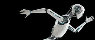 Köra för robotandroidmän Arkivfoto
