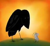 Kraai en muis Royalty-vrije Stock Afbeelding