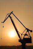 Kraan bij Zonsondergang Stock Foto's