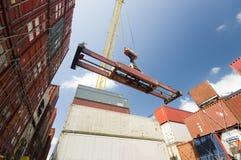 Kraan die container verminderen aan stapel containers Stock Fotografie