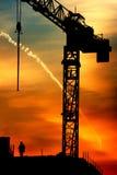 Kraan en zonsopgang royalty-vrije stock afbeelding
