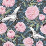 Kraanvogels, pioenbloemen Bloemen het herhalen Chinees patroon watercolor stock illustratie