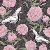 Kraanvogels, pioenbloemen Bloemen het herhalen etnisch patroon watercolor royalty-vrije illustratie