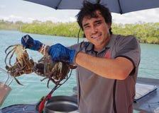 Krab die in Queensland, Australië vangen stock fotografie