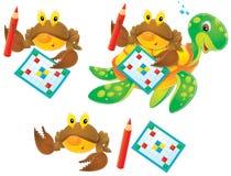 Krab, schildpad en kruiswoordraadsel royalty-vrije illustratie