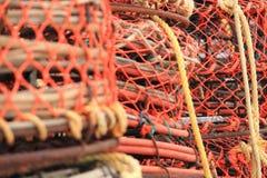 Kraba i homara oklepowie na molu Zdjęcia Stock