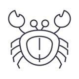 Kraba wektoru linii ikona, znak, ilustracja na tle, editable uderzenia ilustracja wektor