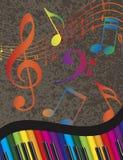 Krabb gräns för piano med färgrika tangenter och musikanmärkningen Arkivfoton