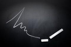 Krabb-linje-och-bruten-krita-pinne-på-svart tavla-fokus-på-krita-fa Royaltyfri Foto