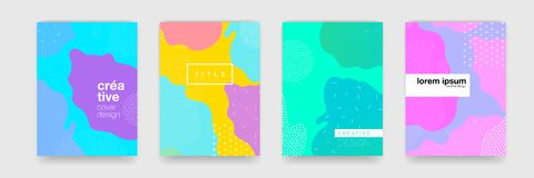 Krabba blått, apelsin, gräsplan, modell för lilafärglutning på vit bakgrund Vektortrendform för design för broschyrräkningsmall vektor illustrationer