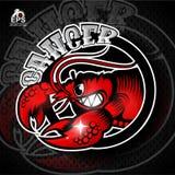 Krabba i profil med gör bar tänder Logo för någon cancer för sportlag vektor illustrationer