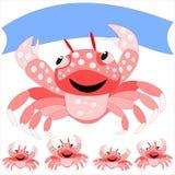 Krabba med ett baner Royaltyfri Bild