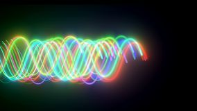 Krabba neonlins är i mörkt utrymme, dator frambragd modern abstrakt bakgrund, 3d framför arkivfilmer