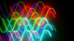 Krabba neonlins är i mörkt utrymme, dator frambragd modern abstrakt bakgrund, 3d framför lager videofilmer