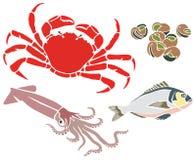 Krabba och annan havsvarelseuppsättning Arkivfoto