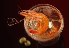 Krabba och champagne Arkivfoto