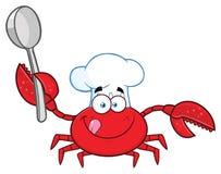 Krabbakock Cartoon Mascot Character som rymmer en sked stock illustrationer