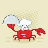 Krabbakock Cartoon Mascot Character som rymmer ett uppläggningsfat vektor illustrationer