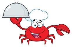 Krabbakock Cartoon Mascot Character som rymmer ett uppläggningsfat stock illustrationer
