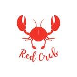 Krabbakontur Skaldjur shoppar logoen som brännmärker mallen för att förpacka för hantverkmat eller restaurangdesign Arkivbild