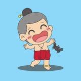 Krabban klämmer en pojke stock illustrationer