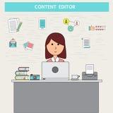 Krabbel bedrijfs digitaal marketing concept met tevreden redacteur ve stock illustratie