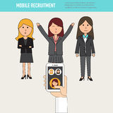 Krabbel bedrijfsvrouwen met het menselijke Middel mobiele aanwerven vect Stock Fotografie