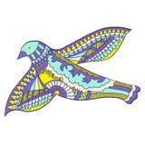 Krabbel, beeld van vliegende decoratieve vogel, vectorillustratie Royalty-vrije Stock Afbeelding