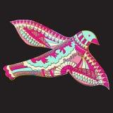 Krabbel, beeld van vliegende decoratieve vogel, vectorillustratie Royalty-vrije Stock Foto's