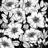 Krabbel bloemen hond-roze achtergrond in vector met krabbels zwart-witte kleurende pagina royalty-vrije illustratie