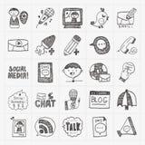 Krabbel communicatie geplaatste pictogrammen Stock Afbeeldingen